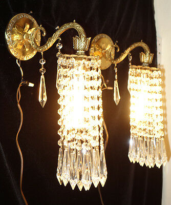 2 Vintage Sconces French beaded Brass bronze fountain waterfall Crystal lamp old