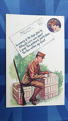 WW1 Patriotic Postcard 1914 1918 Tommy Letter IN MEMORY OF THE DAYS GONE BY