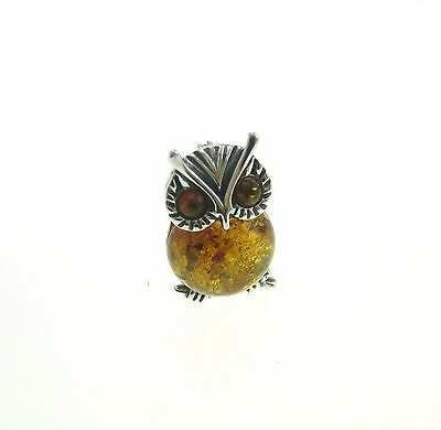 Sterling Silver 925 Baltic Amber Owl Brooch