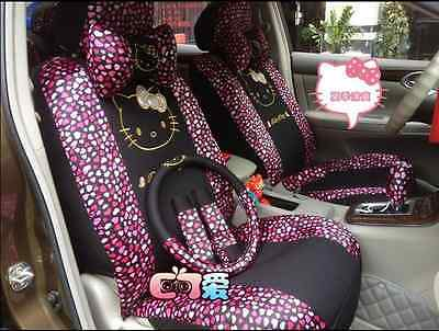 New Hello Kitty Purple and Black Car Seat Covers Steering Wheel Cover 10 PCs