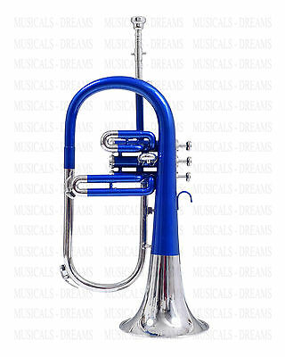 Brand New Nickel Plated + Blue Lacquered Flugel Horn 3 Valve For Sale With Case
