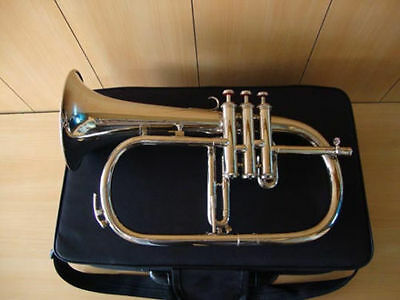 TOP SALE!!! NEW SILVER NICKEL Bb FLAT FLUGEL HORN WITH FREE CASE+MOUTHPIECE