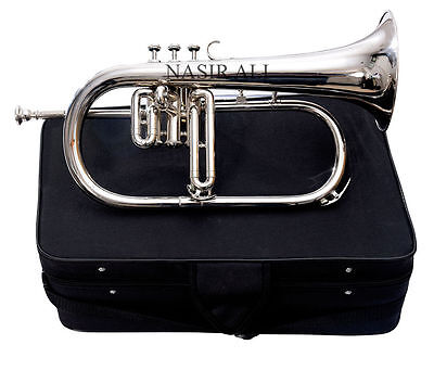 Hey Look It Flugel-Horn 3 Valve Brass Nickel Finish_Bb_Pitch_With_Hard Case