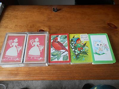 LOT OF 4 VINTAGE DECKS OF PLAYING CARDS/WHITMAN/trump/cape shore