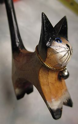 """Carved Wooden Cat Figure with bell 4 1/2"""" Tall maybe ring holder Folk Art black"""