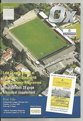 Oxford United v Port Vale 1.5.01 (Last League match @ The Manor Ground)