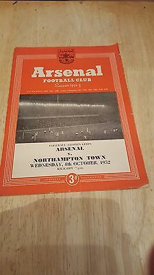 Arsenal Reserves V Northampton Town 8.10. 1952 - Football Combination