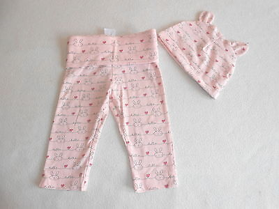 Baby Girls Clothes 3-6 Months - Trousers & Hat Set -New - We Combine Postage