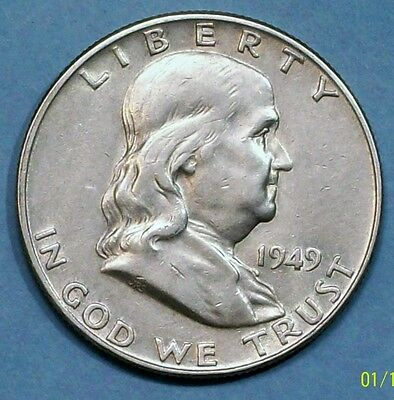 U.s.a Half Dollar 1949 D Almost Uncirculated 0.9000 Silver Coin