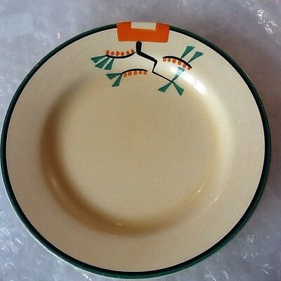 "Clarice Cliff 7"" Side Plate In The  Rare Green Ravel Patten."