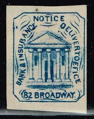 Usa Stamp  -Local- Hussey's  City Post Blue Reprint Stamp Unused