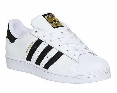 Adidas Superstar  WHITE BLACK FOUNDATION Trainers Shoes