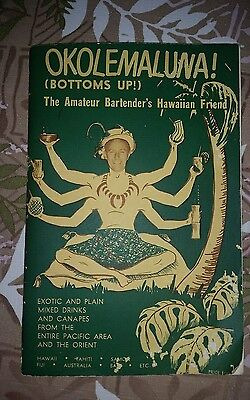Vtg. 1960s OKOLEMALUNA Bottoms Up Hawaiian Bartenders Drink Guide & Recipe Book