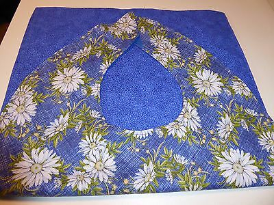 Adult Bibs / cover-ups for adults, seniors, disabled; WHITE DAISIES ON BLUE