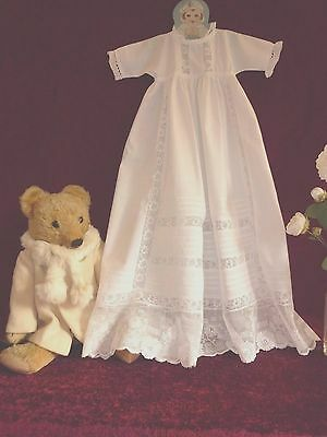 Lovely Vintage Cotton Baby Gown Lace Inserts&Pintucks.