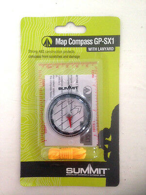 MAP COMPASS with lanyard & magnifying lens. Ideal starter compass, orienteering