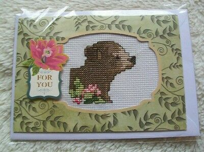 Completed cross stitch card - bear cub with flowers