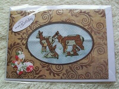 Completed cross stitch card - pronghorn