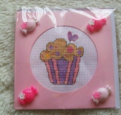 Completed cross stitch card - cupcake