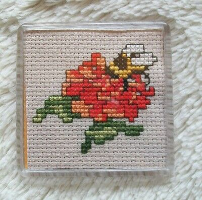 Completed cross stitch magnet - bee on flower