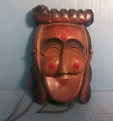 "Hand Carved WOOD Sculptured WALL MASK 5.75""x4.75"""