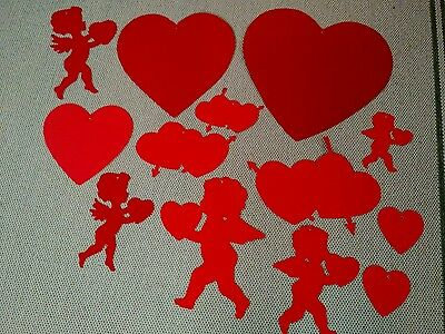 Lot Of 13 Die-Cut Paper Valentine's Day Decorations 8 Hearts 5 Cupids