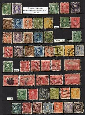 U.S.A. Group of 49 1908-1913 Fine Used stamps   All attractive & collectable