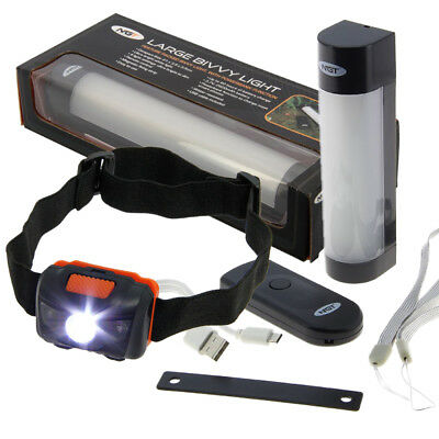 NGT Fishing Camping Rechargeable Bivvy Tent Light Power Bank Remote Small Large