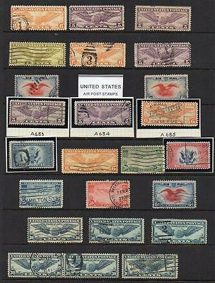 U.S.A. Group of 24  Fine Used stamps All attractive & collectable Inc; AIR-POST