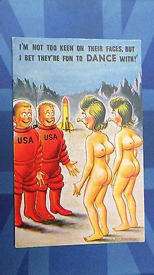 Risque Bamforth Comic Postcard 1960s Large Boobs Astronaut Strictly Come Dancing