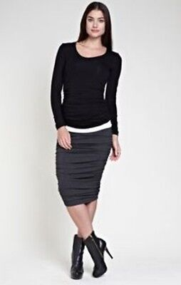 Isabella Oliver Maternity Ruched Midi Caviar Black Career Skirt Small S 0