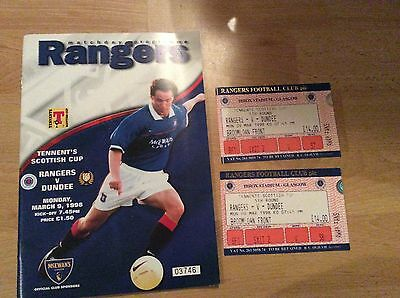 1998 Rangers V Dundee Programme + Ticket Stubs (Scottish Cup)
