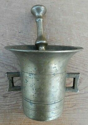 Antique 18th- 19th C Solid Brass Apothecary Mortar & Pestle Nice Patina All Good