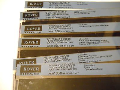 Rover 200 3 & 5 Dr Plus Rover 400 4 Dr Parts Microfiches Oct 1992 On