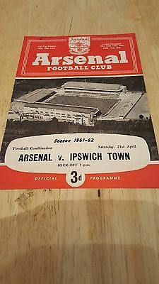 Arsenal Reserves v Ipswich Town 21.4. 1962 - Football Combination