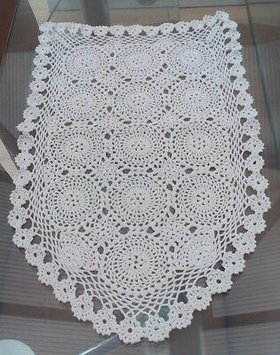 A Pair Of Vintage White Hand Crocheted Cotton Chair Backs / Covers