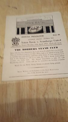 Luton Town V  Scunthorpe United 15.4. 1963 - Dvision Two