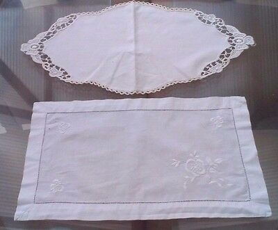 2 Vintage White & Cream Cotton Crocheted Lace Table Centers/tray Cloths/doilies