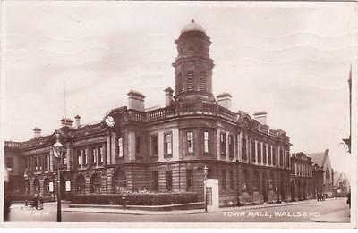 RP WALLSEND TOWN HALL STREET SCENE TYNE AND WEAR REAL PHOTO c1920
