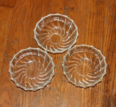 """Vintage Thick Swirled Glass Bowls Clear Approx 5"""" Diameter Approx 2 1/4"""" Depth"""