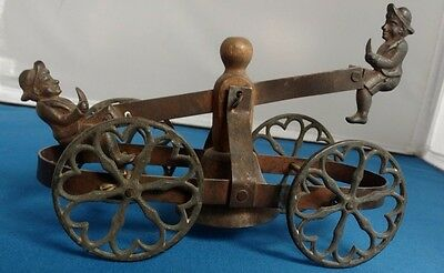Antique 1870 1880 Cast Iron Copper Bell Ringer Pull Push Toy