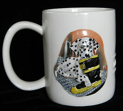 Dalmatian Dog Coffee Cup Mug Firefighter Boot 3D Relief 2-sided Mint condition