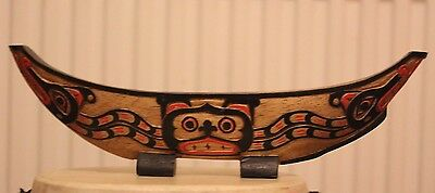 Hand Carved Solid Wood Reproduction Native American Small Haida Canoe Bowl 320Mm