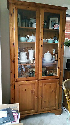Ducal Pine Display Cabinet with Glass Doors, Lights and Cupboard