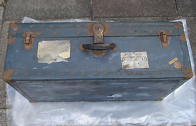 LARGE 1950s BLUE VINTAGE SUITCASE CHRISTIE BAGGAGE 'STEAMPUNK TRUNK' WITH LABEL