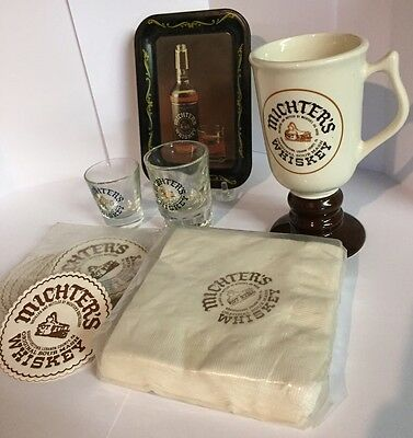 Michter's Whiskey Schaefferstown PA Advertising Set Shot Glass, Coasters, Tray +