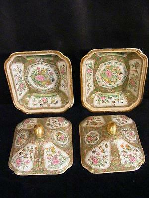 Pair Gorgeous Antique Chinese Export Famille Rose Covered Serving Bowls - Bats