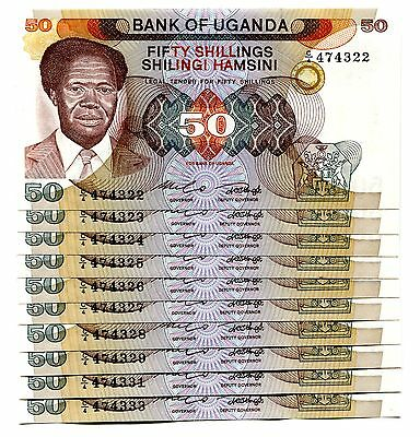 Uganda 50 Shillings Nd(1985) P-20 Unc Lot 10 Pcs