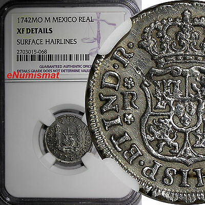 Mexico  Philip V Silver 1742 Mo M 1 Real NGC XF DETAILS 1st Year Type KM# 75.2