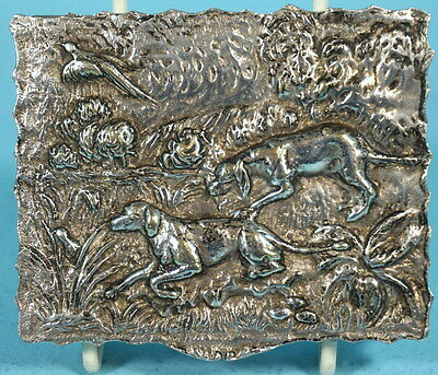 Antique Silver Hunt Trinket Jewelry Box Stag Bird Dogs Pheasant Germany